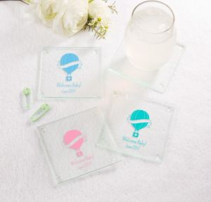 Up Up Away Personalized Baby Shower Glass Coasters (Printed Glass)