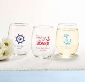 Ahoy Nautical Personalized Baby Shower Stemless Wine Glasses 15oz (Printed Glass)