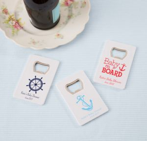Ahoy Nautical Personalized Baby Shower Credit Card Bottle Openers - White (Printed Plastic)
