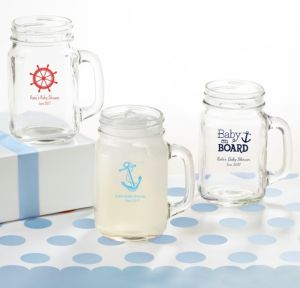Ahoy Nautical Personalized Baby Shower Mason Jar Mugs (Printed Glass)
