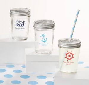 Ahoy Nautical Personalized Baby Shower Mason Jars with Daisy Drink Lids (Printed Glass)