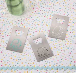Little Peanut Boy Personalized Baby Shower Credit Card Bottle Openers - Silver (Printed Metal)