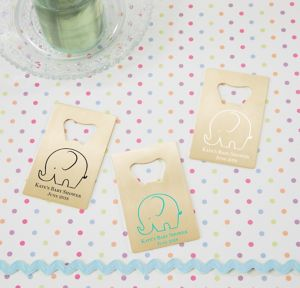Little Peanut Boy Personalized Baby Shower Credit Card Bottle Openers - Gold (Printed Metal)
