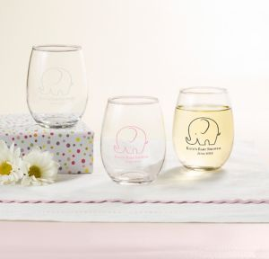 Little Peanut Girl Personalized Baby Shower Stemless Wine Glasses 9oz (Printed Glass)