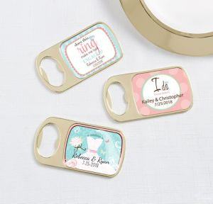 Personalized Bottle Openers - Gold <br>(Printed Epoxy Label)</br>