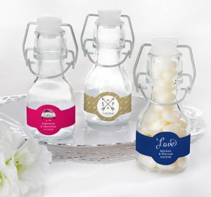 Personalized Glass Swing Top Bottles <br>(Printed Label)</br>