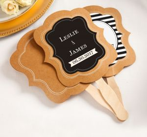 Personalized Kraft Wedding Fans <br>(Printed Label)</br>