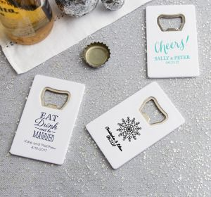 Personalized Credit Card Bottle Openers - White <br>(Printed Plastic)