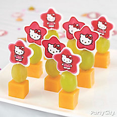 Hello Kitty Fruit and Cheese Kabobs