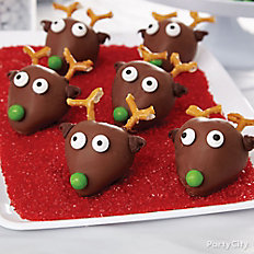 Strawberry Reindeer Faces