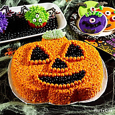 Friendly Crispy Rice Jack-o'-Lantern Cake