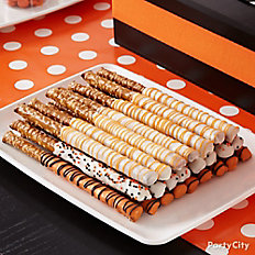 Modern Halloween Dipped and Drizzled Pretzel Pops
