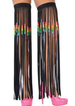 Electric Party Fringe Leg Warmers