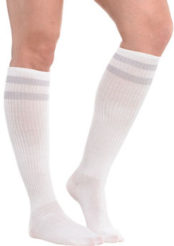 Silver Stripe Athletic Knee-High Socks
