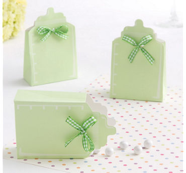Pastel Green Bottle Baby Shower Favor Box Kit 24ct