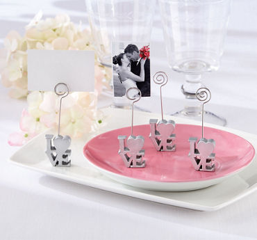 Silver Love Place Card Holder