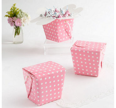 Pink Polka Dot Take-Out Style Favor Boxes 12ct