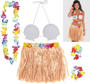 Adult Natural Hula Skirt Kit 5pc