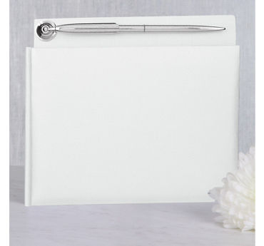 White Wedding Guest Book with Pen