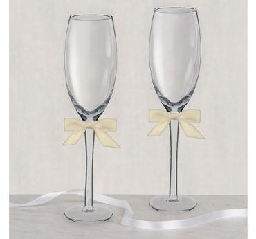 Ivory Bow Wedding Toasting Glasses 2ct