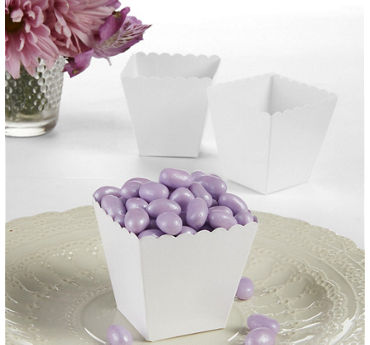 White Scalloped Favor Boxes 100ct