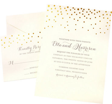 Metallic Gold Dot Printable Wedding Invitations Kit 50ct