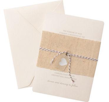 Burlap Heart Printable Wedding Invitations Kit 25ct