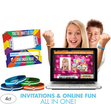 Brights Invite Bandz Online Party Invitation Wristbands Add-On Pack for 4