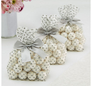Silver Polka Dot Treat Bags with Bows 12ct