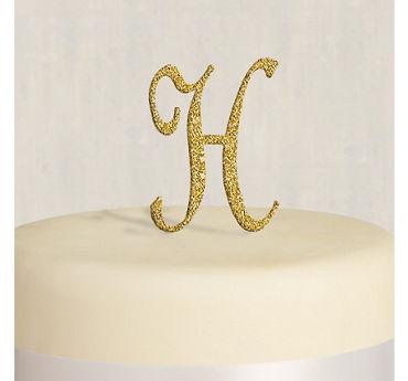 Rhinestone Gold Monogram H Cake Topper