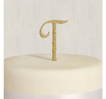 Rhinestone Gold Monogram T Cake Topper