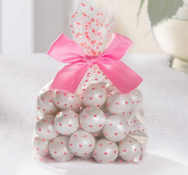 Pink Hearts Treat Bags with Bows 12ct