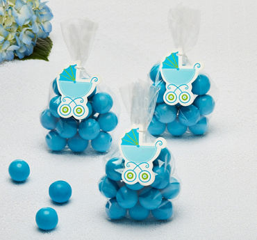Blue Stroller Baby Shower Favor Tags 25ct