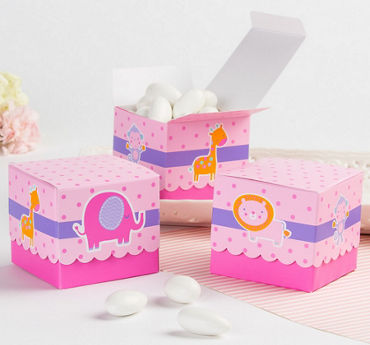 Pink Animal Baby Shower Favor Boxes 24ct