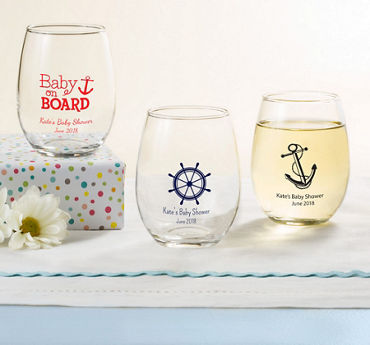 Baby Boy Personalized Baby Shower Stemless Wine Glasses 9oz (Printed Glass)