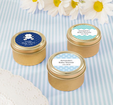 Baby Boy Personalized Baby Shower Round Candy Tins - Gold (Printed Label)