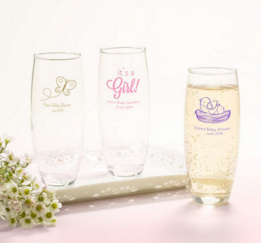 Baby Girl Personalized Baby Shower Stemless Champagne Flutes (Printed Glass)