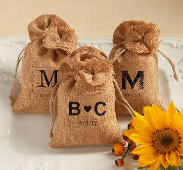 Personalized Burlap Favor Bags (Printed Fabric)