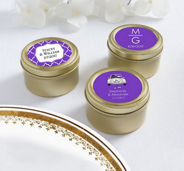 Personalized Round Candy Tins - Gold (Printed Label)