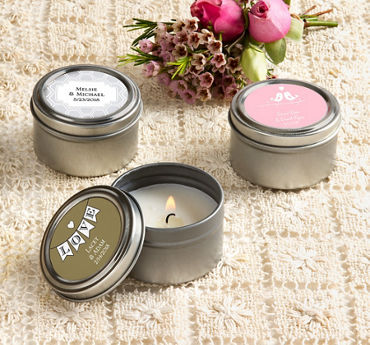 Personalized Wedding Candle Tins (Printed Label)