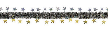 Prismatic Black, Gold & Silver Star Tinsel Garland