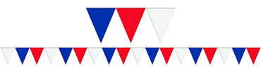 Red, White & Blue Pennant Flag Banner 120ft