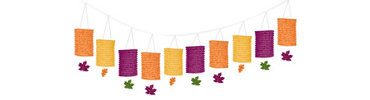 Fall Paper Lantern Garland 12ft