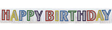 Primary Happy Birthday Fringed Banner 9ft