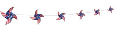 Patriotic Pinwheel Garland 9ft