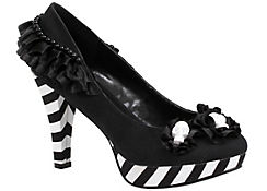 Black & White Platform High Heel Shoes - Day of the Dead