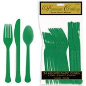 Festive Green Premium Plastic Cutlery Set 24ct