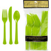 Kiwi Green Premium Plastic Cutlery Set 24ct