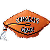 Foil Orange Graduation Cap Balloon