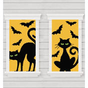 Cat and Bat Window Silhouette 33 1/2in x 65in 2ct